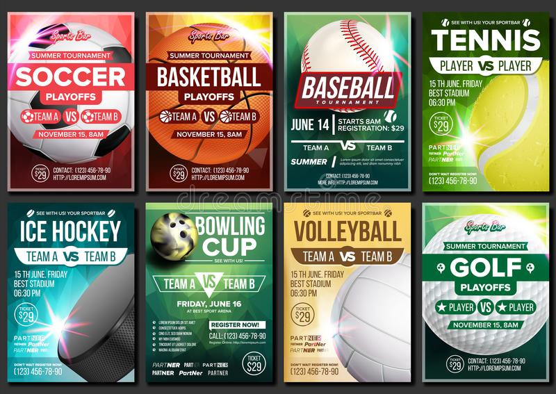 Sport Poster Vector. Soccer, Tennis, Golf, Basketball, Bowling, Baseball, Ice Hockey. Event Design Template. Sport Bar. Sport Poster Set Vector. Tennis vector illustration