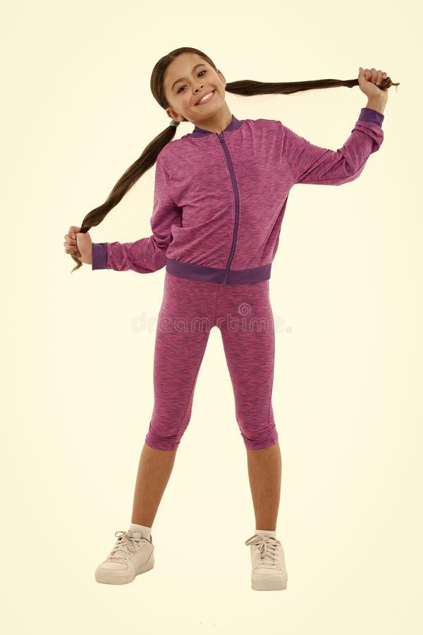 Sport pour des filles Conseils sur ?tablir avec de longs cheveux Affaire avec de longs cheveux tout en s'exer?ant ?laboration ave photographie stock