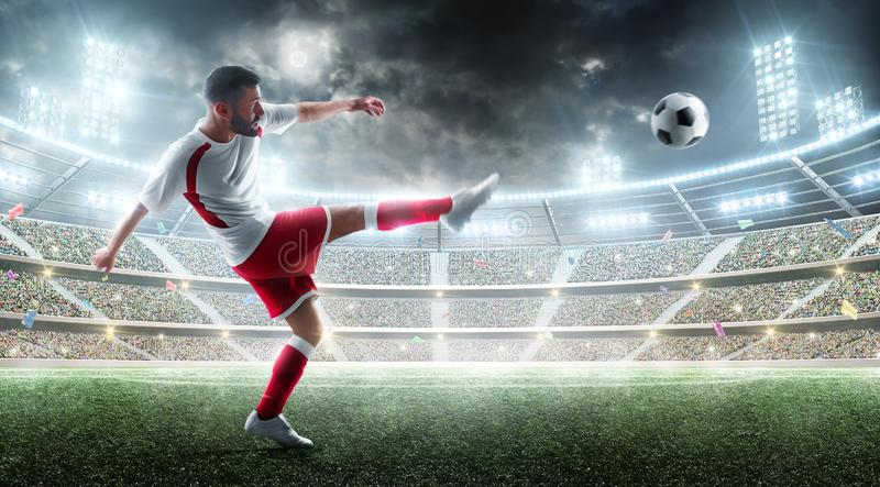 Sport. Professional soccer player kicking a ball. Night 3d stadium with fans and flags. Soccer concept. Soccer action. Sport. Professional soccer player kicking royalty free stock photo