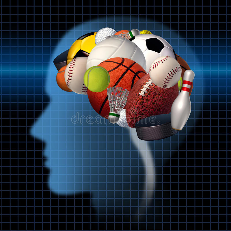 Sport Psychology. Concept as a group of sports equipment shaped as a human brain as a mental health symbol for the relationship between psychological and