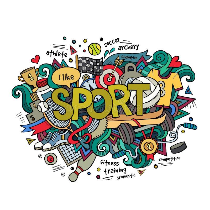 Sport ręki literowanie i doodles elementy ilustracji
