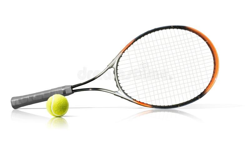 sport Racchetta e sfera di tennis Isolato sui precedenti bianchi immagini stock