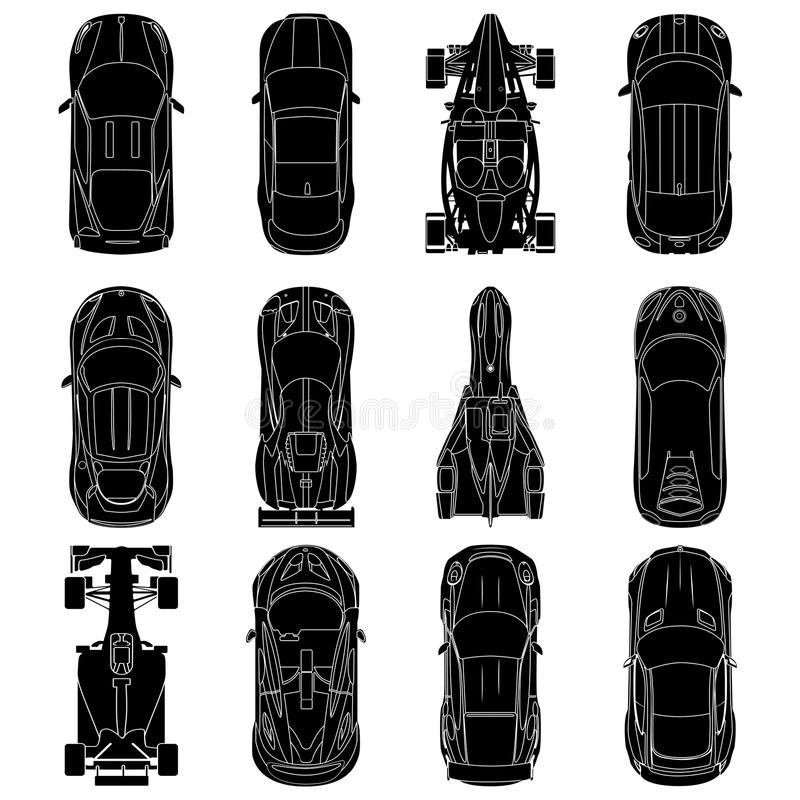 Sport and racing cars top view icons set , Car silhouettes. On white background. vector illustration stock illustration