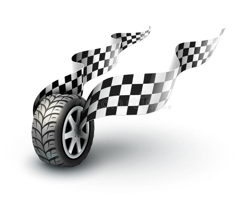 Sport racing wheel with flapping flags royalty free illustration