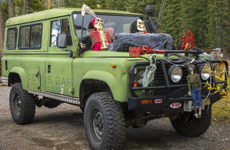 Vehicle with Halloween Decoration. Sport Recreation Utility Vehicle with Creative Spooky Halloween Decoration royalty free stock images