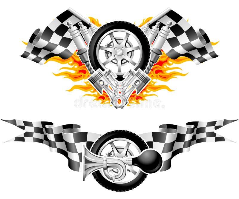 Sport-Rennen-Embleme vektor abbildung