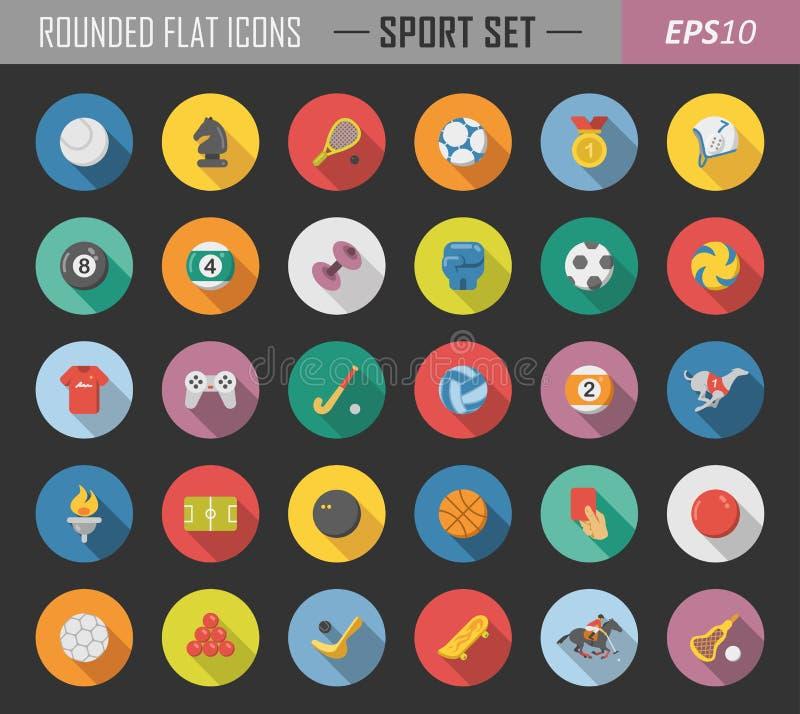 Sport rundade plana symboler vektor illustrationer