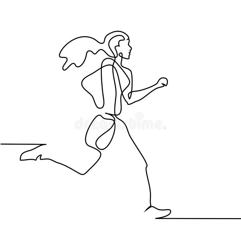 Sport running woman on white background. Continuous line drawing. Sport running woman on white background. Vector illustration stock illustration