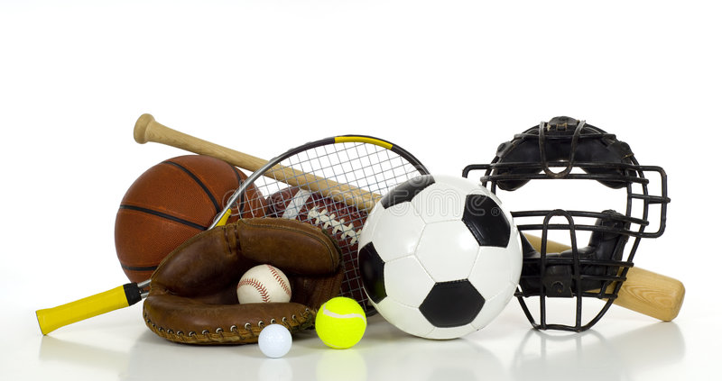 Sport's Gear on White Background royalty free stock image