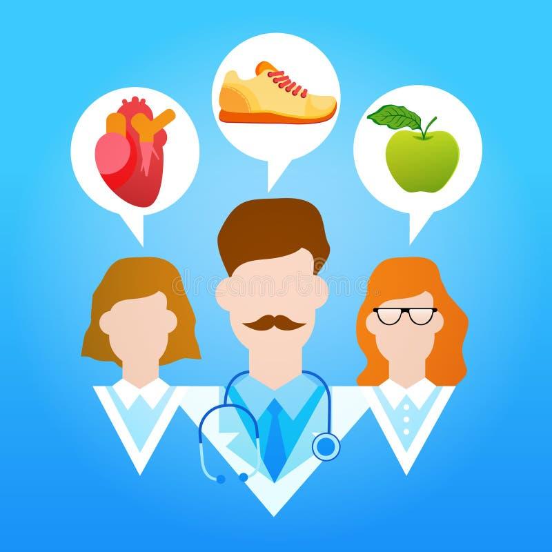 Sport sano delle vitamine di stile di vita di medici gruppo illustrazione di stock