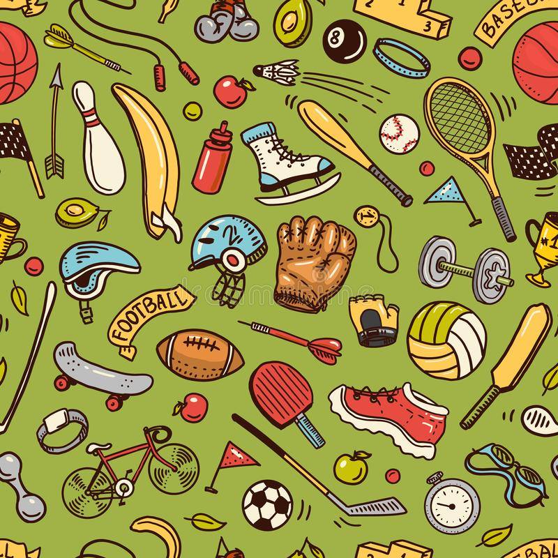 Sport Seamless pattern. Icons doodle style. Equipment for fitness and training. Symbols of health and activity. Tennis stock illustration