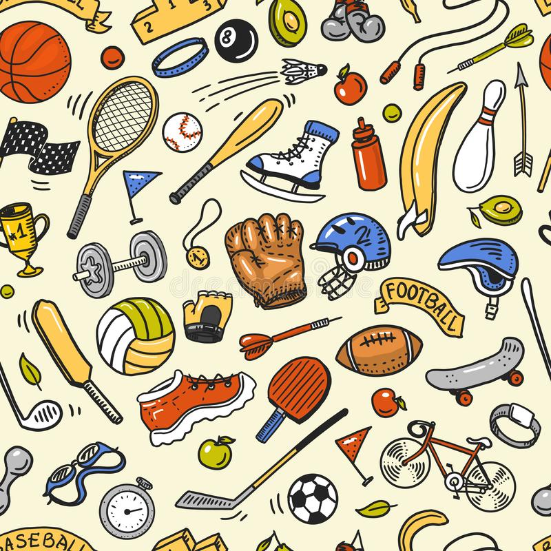 Sport Seamless pattern. Icons doodle style. Equipment for fitness and training. Symbols of health and activity. Tennis royalty free illustration