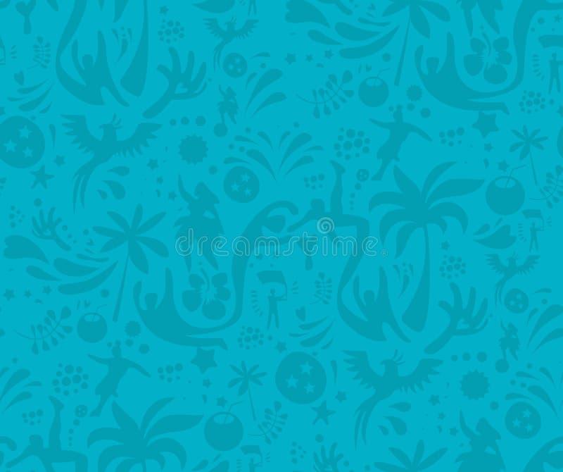 Sport senza cuciture modello blu, fondo astratto di vettore di calcio Modello senza cuciture incluso in campione royalty illustrazione gratis