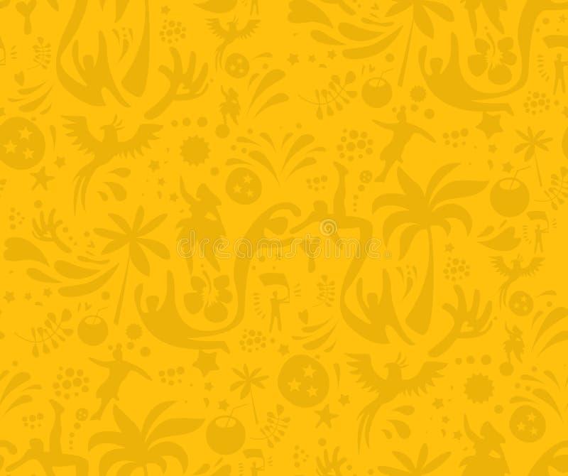 Sport senza cuciture modello giallo, fondo astratto di vettore di calcio Modello senza cuciture incluso in campione illustrazione di stock