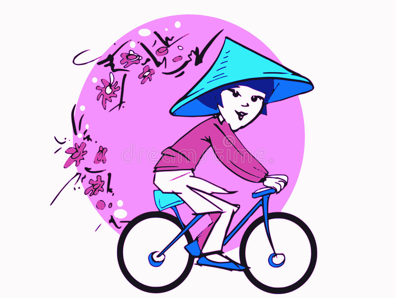 Download Asian Woman On Bycicle, Cartoon Stock Vector - Image: 6575695