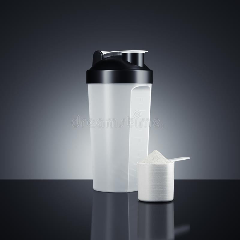 Shaker with protein cup isolated on dark background. 3d rendering royalty free illustration