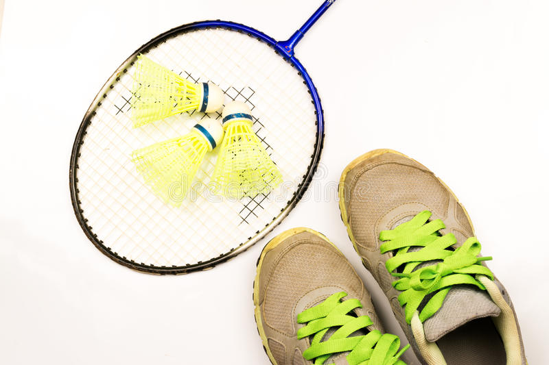 Sport. Shoe,badminton,weight ,jump rope and pink socks on white background stock image