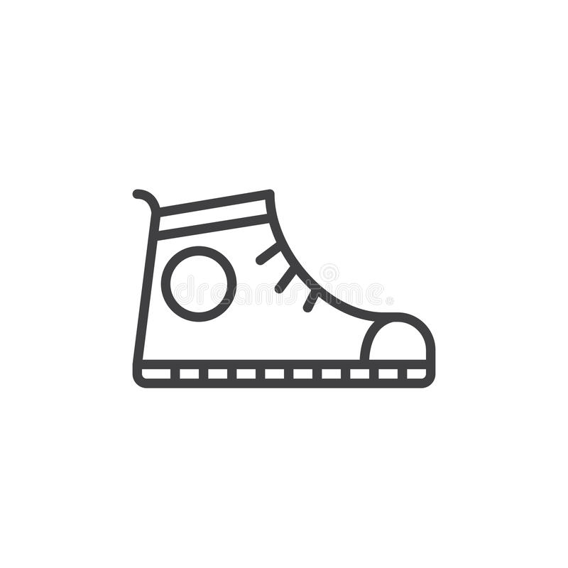 Sport shoe, Sneakers line icon, outline vector sign, linear style pictogram isolated on white. Symbol, logo illustration. Editable stroke. Pixel perfect vector illustration