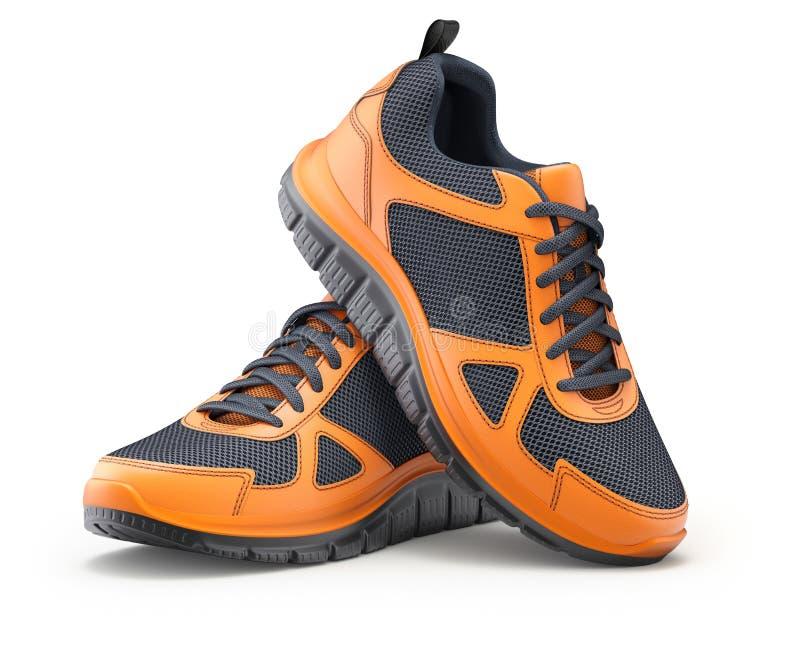 Sport shoes orange-black royalty free stock photo