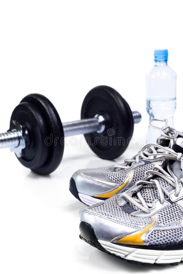Sport shoes ready to exercise. Be ready to exercise with fitness equipment stock photography