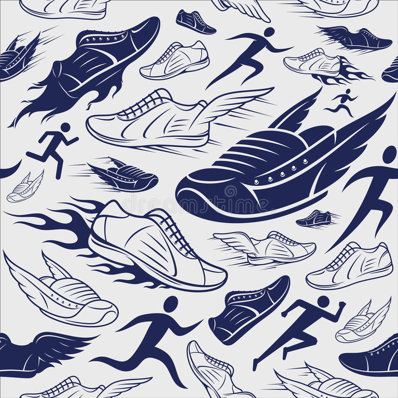 Download Sport Shoes Running Man Background Seamles Pattern Icon Stock Vector