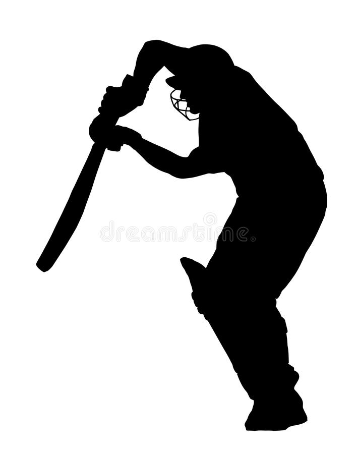 Sport Silhouette - Cricket Batsman Blocking Ball stock images