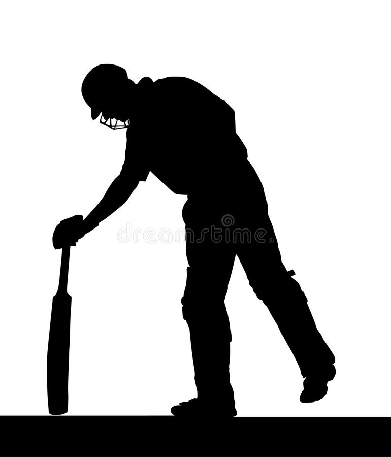 Sport Silhouette - Cricket Batsman Checking Pitch stock image