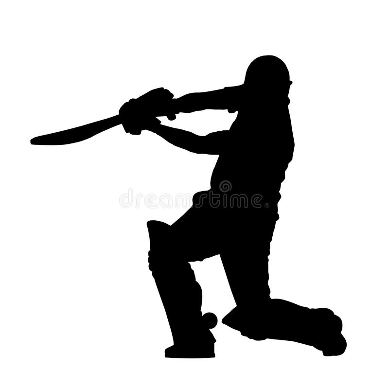 Sport Silhouette - Cricket Batsman Hitting Ground royalty free stock photography