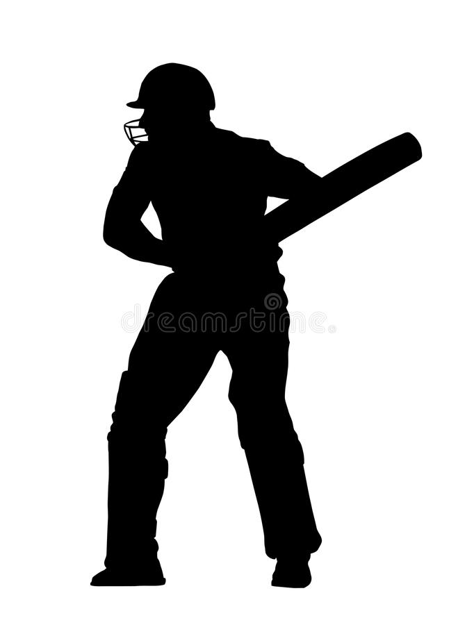 Sport Silhouette - Cricket Batsman Ready royalty free stock photo