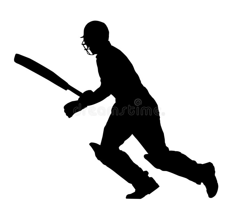 Sport Silhouette - Cricket Batsman Running royalty free stock images