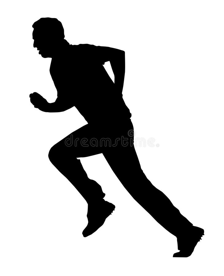 Sport Silhouette - Cricket Bowler Run-Up royalty free stock photo