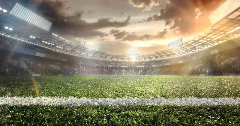 Sport. Soccer ball on stadium. Sport light background with dramatic sky. Soccer ball on stadium. Football poster royalty free illustration