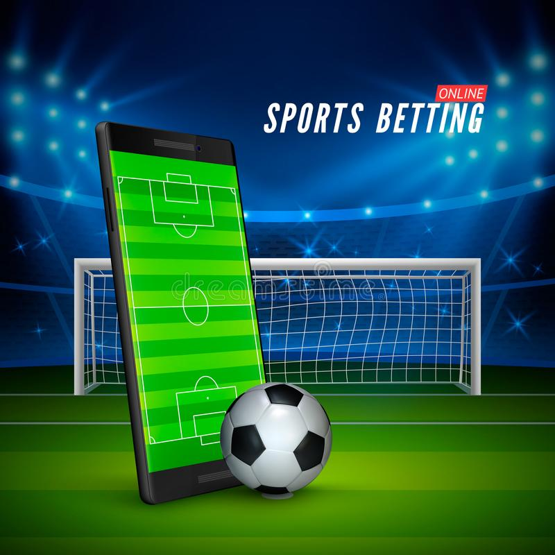 Sport som direktanslutet slå vad Mobiltelefonen med fotbollfältet på skärm- och realistikfotboll klumpa ihop sig framme Fotbollst royaltyfri illustrationer