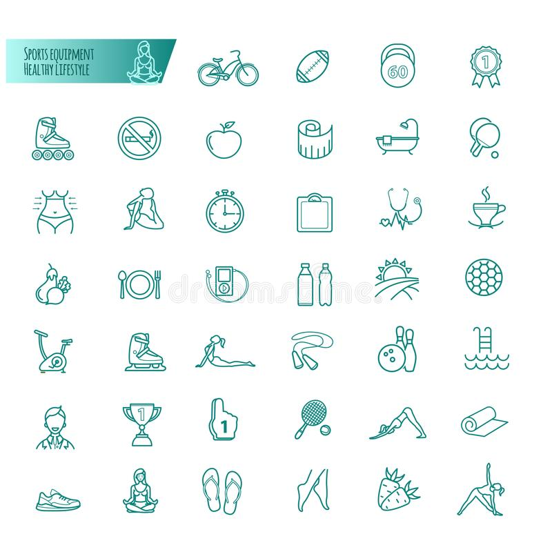 Sport, sports equipment, healthy lifestyle icons set. For your design vector illustration