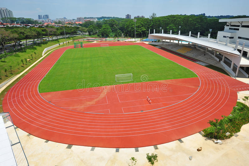 Sport Stadium. Bird Eye View Of A Small Sport Stadium With Running Track And Field stock image