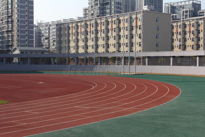 Sport stadium. With field tracks stock photos