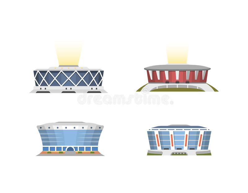 Sport stadium front view vector collection in cartoon style. City arena exterior illustration set. royalty free stock image