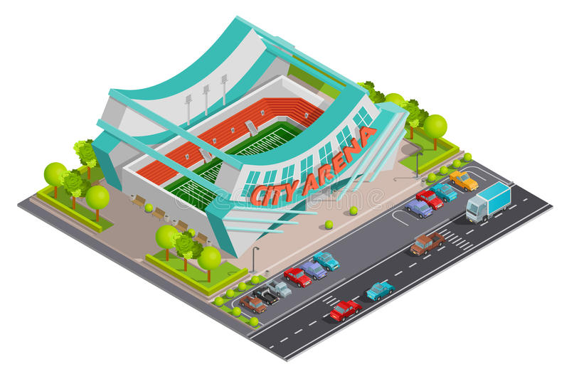 Sport Stadium Isometric Outdoor Composition Banner stock illustration