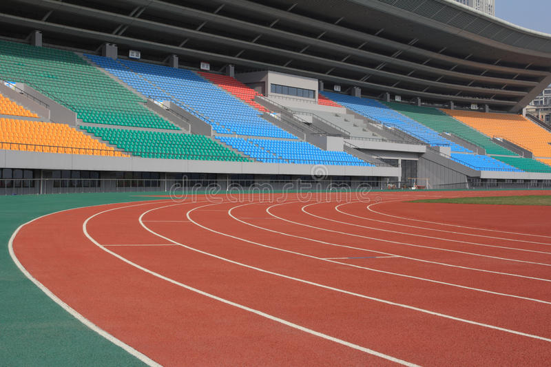 Sport stadium. With running tracks royalty free stock photography