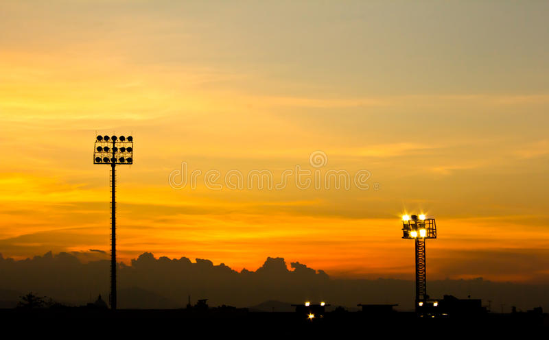 Sport stadium sunset. Beautiful of sport stadium sunset stock photo