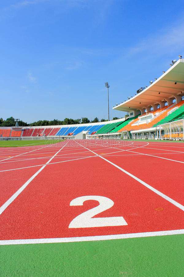 Sport stadium. A Sport stadium track and field royalty free stock photos
