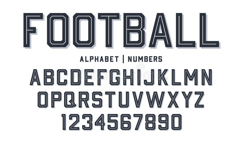 Sport style font. Football style font with lines inside. Athletic style letters and numbers for football kit. Sport style font. Football style font with lines stock illustration