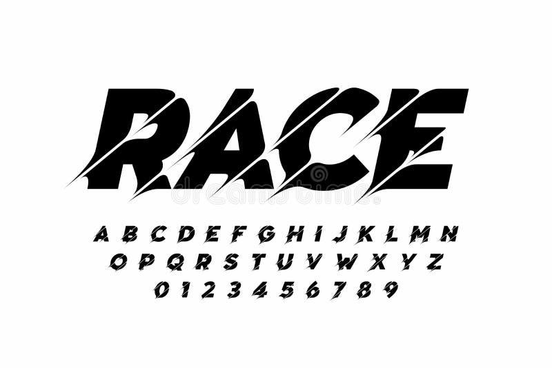 Sport style modern font royalty free illustration