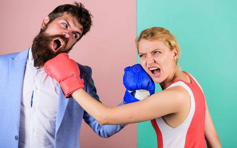 Sport success. problems in relationship. sport. family couple boxing gloves. Strength and power. bearded man hipster stock images