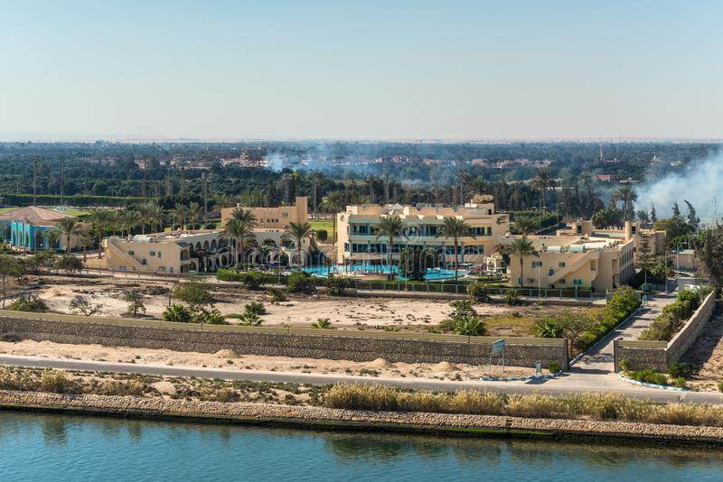 Sport Support Resort Hotel in Ismailia, Egypt. Ismailia, Egypt - November 5, 2017: Sport Support Resort Hotel on the shore of the Suez Canal near Ismailia, Egypt royalty free stock photo