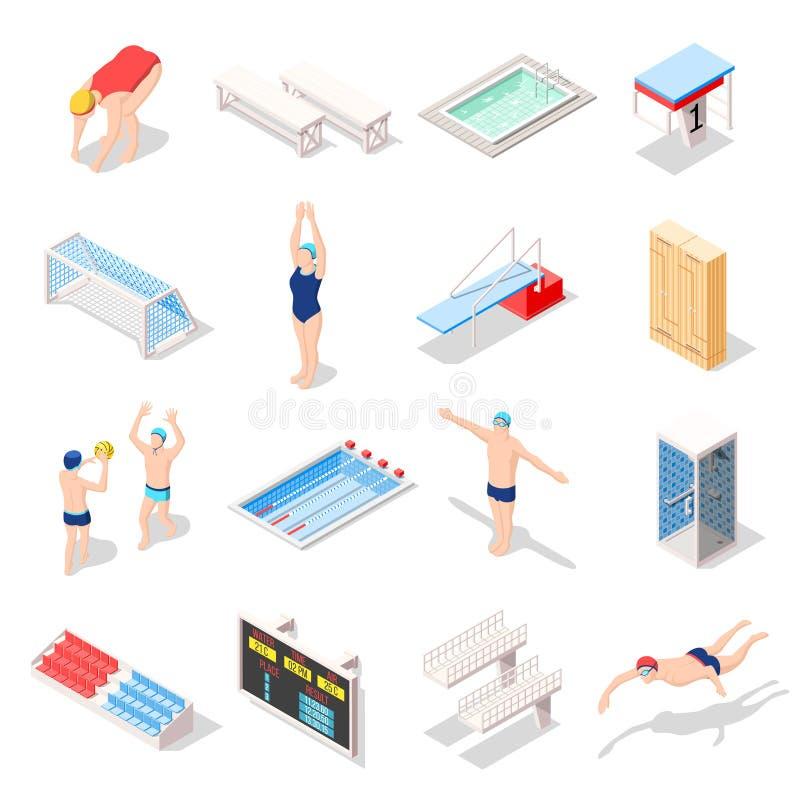 Sport Swimming Pool Isometric Icons vector illustration