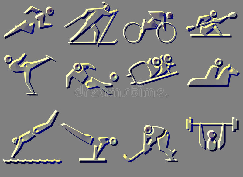 Download SPORT SYMBOL ICONS stock illustration. Image of fitness - 841383