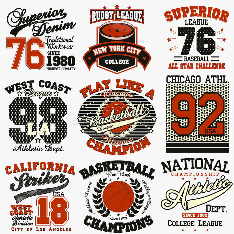 Sport t-shirt set. Sport Typography Graphics logo set, T-shirt Printing Design. Athletic original wear, Vintage Print for sportswear apparel