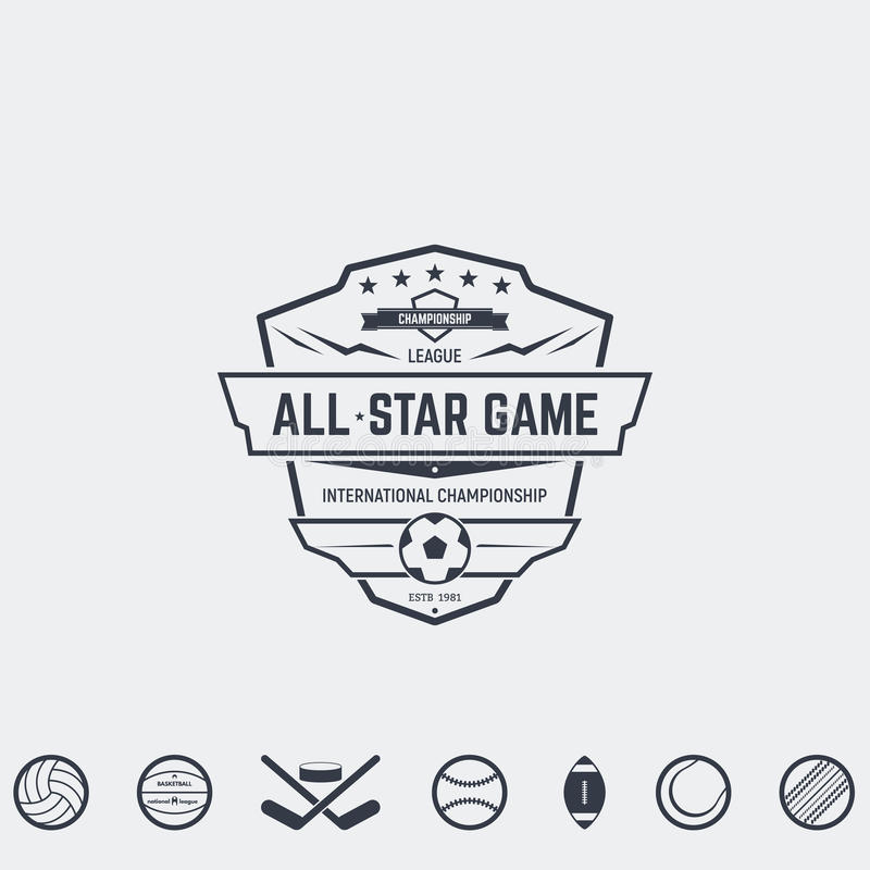 Sport team emblems. Set of retro logo and emblems, badges and insignias, labels and signs for sport teams, competitions and all-star games. Football, basketball royalty free illustration