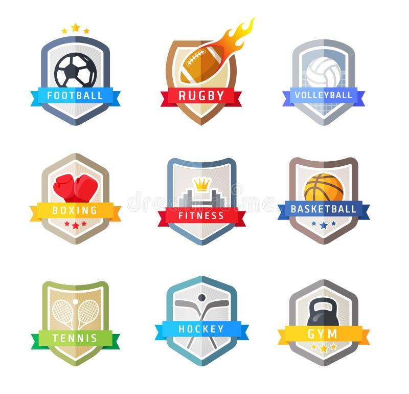 Sport team emblems shields, vector set. On white stock illustration